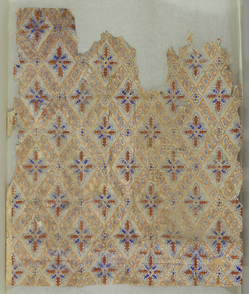 a) Small diamond diaper pattern. Printed in blue, brown and gray on white ground; b) Rococo-style with scenic medallions. Larger medallion containing ships in harbor, alternating with smaller medallion containing floral bouquet (?)Vertical stripe along right edge. Ivy growing over medallions and up vertical element at right edge of paper. Printed in green and brown, with grisaille medallions and stripe, on white ground. b) is very abraded.