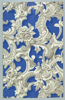 Rococo Revival style. Full width giving slightly more than one repeat of a neo-rococo framework of scrolls enriched with flowers, against a ground simulating blue moiré. Printed in grisaille on a deep blue ground.