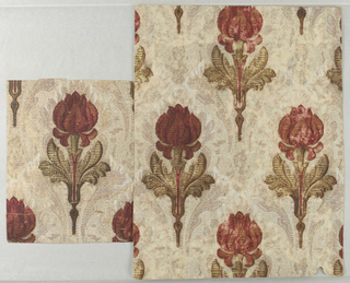 Late art-nouveau style peony-like red flower, rigidly vertical and symmetrical about a vertical axis in rigid rows, brown and green shape with horizontal striations, over fill pattern.