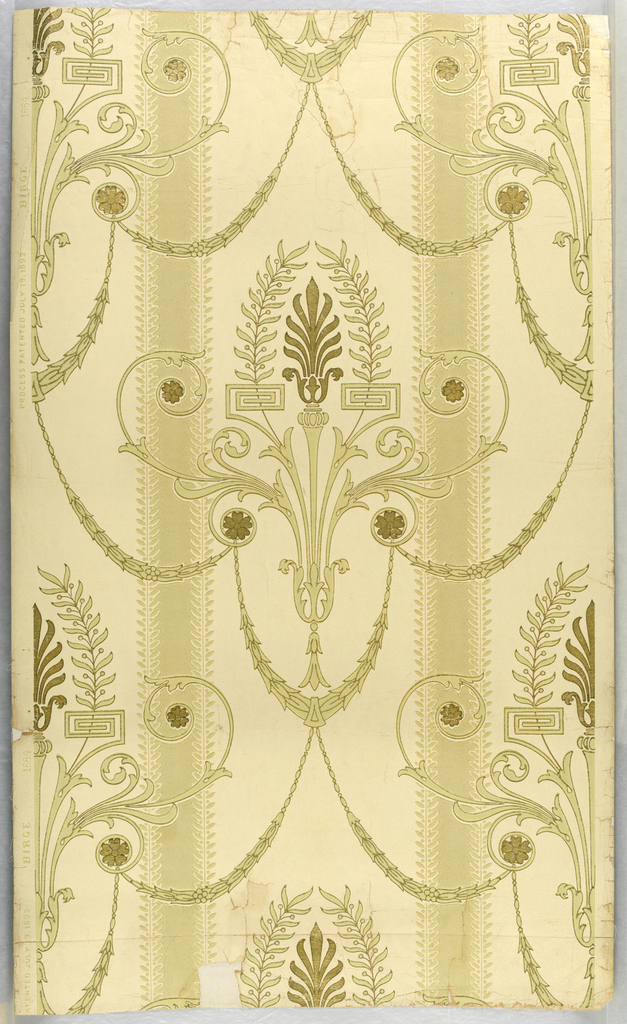"""Classical balanced design in stripe efect suggestive of Louis XVI period. Anthemion floral motif in gilt enclosed in small leaf and berry spray in delicate sage green. Between these motifs are draped gracefully festooned swags in delicate sage green. Symmetrically placed are gilt rosettes. Field is on ivory band 7"""" wide followed by a delicate sage green band 1 3/4"""" wide edged with leaf and berry design. Marked on selvedge: """"Process patented July 19, 1892 - Birge - 1684""""."""