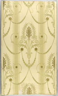 "Classical balanced design in stripe efect suggestive of Louis XVI period. Anthemion floral motif in gilt enclosed in small leaf and berry spray in delicate sage green. Between these motifs are draped gracefully festooned swags in delicate sage green. Symmetrically placed are gilt rosettes. Field is on ivory band 7"" wide followed by a delicate sage green band 1 3/4"" wide edged with leaf and berry design. Marked on selvedge: ""Process patented July 19, 1892 - Birge - 1684""."
