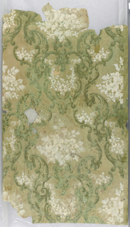 Floral and foliate design, with scrolls and trellis, printed in green and white on green ground.