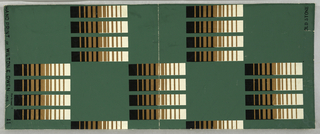 Checker-board pattern with black and white and gold squares alternating with squares of dark green.