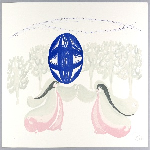 Horizontal rectangle. Two female angel figures with long gray hair, wearing gray and pink flowing costumes in lower center.  Above their joined arms, a large blue sphere with standing nude woman (Lady Sky) inside.  A line of gray trees, on either side of Lady Sky.  Several sketchy horizontal blue lines, perhaps suggesting horizon, across upper edge of sheet.