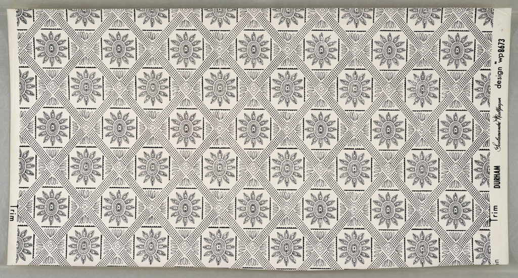 """On white ground, small scale pattern in black: grid of rectangles with saw-toothedge, overcrossed symmetrically with diaper pattern of black dots. Rosettes in centers of alternate rectangles. Printed in margin: """"Durham Scalamandre Wallpaper design wp 8673."""""""