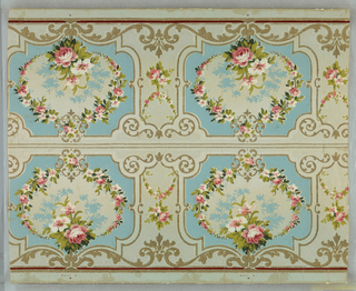 Oval with rose cluster and rose sprays framed in approximately horizontal rectangle with scroll outline is major motif. This repeats horizontally with vertical scroll motif intervening. To be cut along center. Printed in eight colors on pale blue ground.