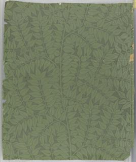 Repeat of simple laurel leaf clusters. Printed in green, pattern reserve-printed in grey.