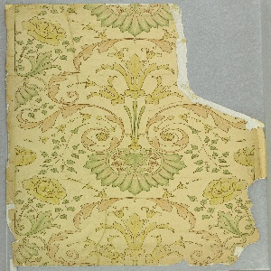 "Irregular piece, a full width in one place, giving an arabesque of leaf forms with clusters of roses.  Printed in yellow, pink and green ""satin finish"" colors (with chalk), and gold, on plain paper."