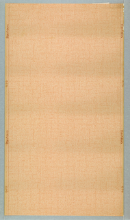 """a) Plain yellow paper; verso stamped: 1210 U 722 Ljusakta Tvattbar Made in Sweden; b) Pink textured paper, """"Bauhaus"""" and """"070"""" on border. Verso, stamped """"Made in Germany""""; c) Grisaille, straight repeat, straight match paper. Brick pattern with alternating urn and grape cluster motifs in voids. Made by Thomas Strahan Co. d) Monochrome tan on tan, straight repeat, straight match paper. Brick pattern with alternating urn and grape cluster motifs in voids. Made by Thomas Strahan Co."""
