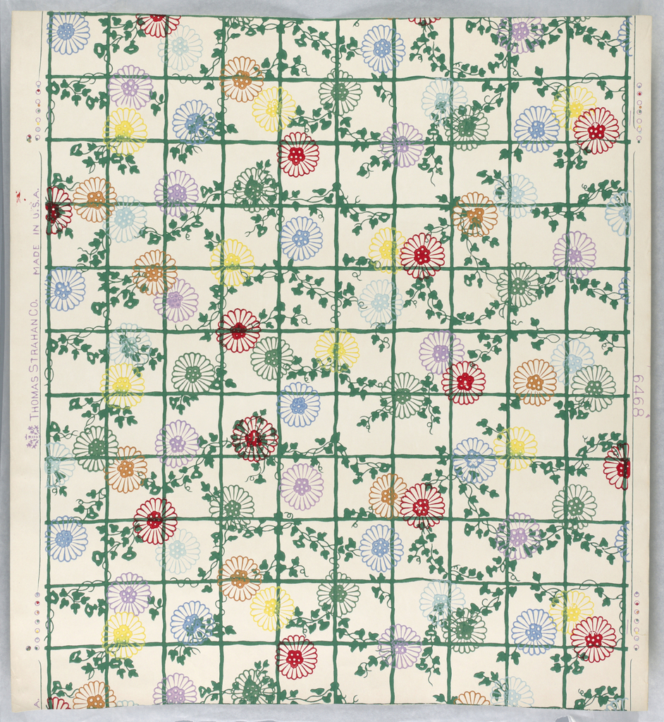On white ground, narrow green diamond diaper trellis with intertwining green foliage, chrysanthemum-like flowers outlined in red, lavender, ocher and two shades of blue.
