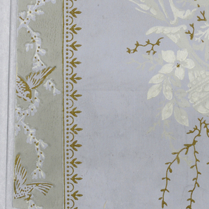Neoclassical pattern of columns of flower bouquets with roses and ears of wheat alternating with vertical ribbons with simple lace-like borders; vertical pattern in ribbon of songbirds alternating in three poses on entwined white wreaths; interiors of ribbons are grey with gold highlighting of birds and ribbon edges; flowers marked in white with some sprigs highlighted in gold; ground is light gray.