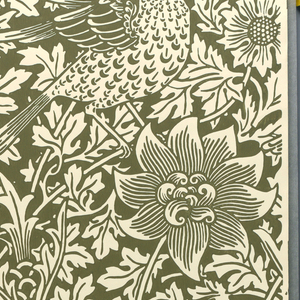 Vertical repeat of leafy anemone stems with stylized blossoms, with two different birds, wings outspread. Design in reserve.