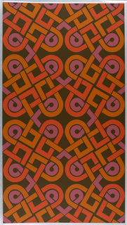 On brown ground, interlacing bandings of ochre, salmon, lavender in large scale loops.