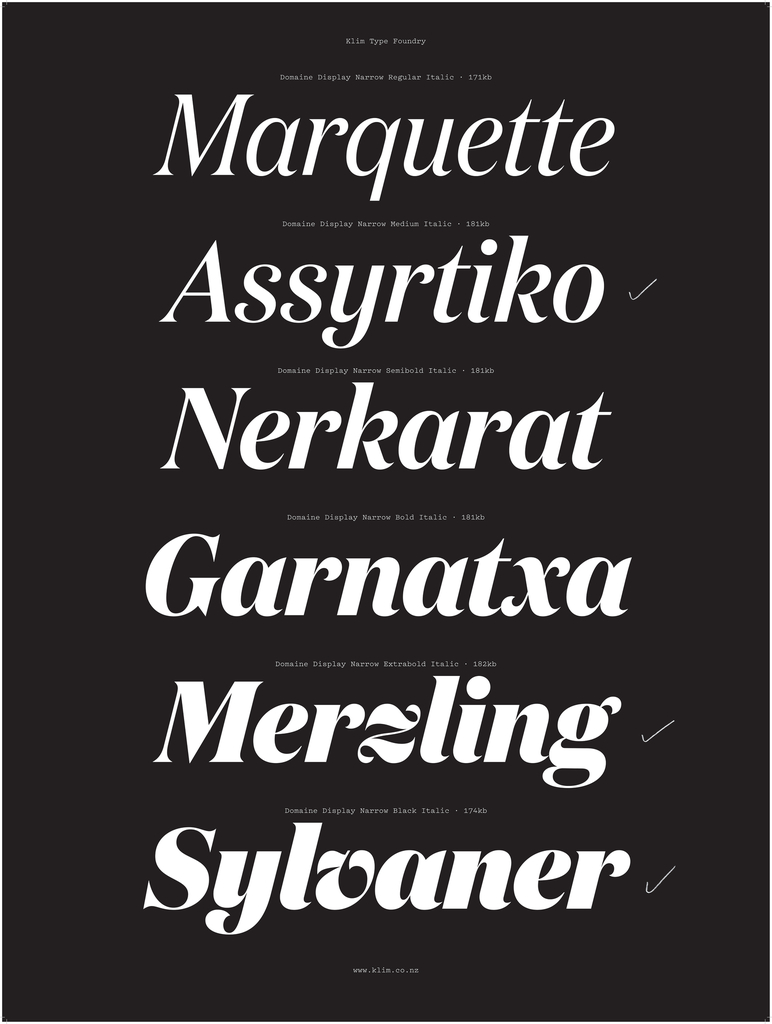 Specimen, Domaine Display Italic typeface, 2014