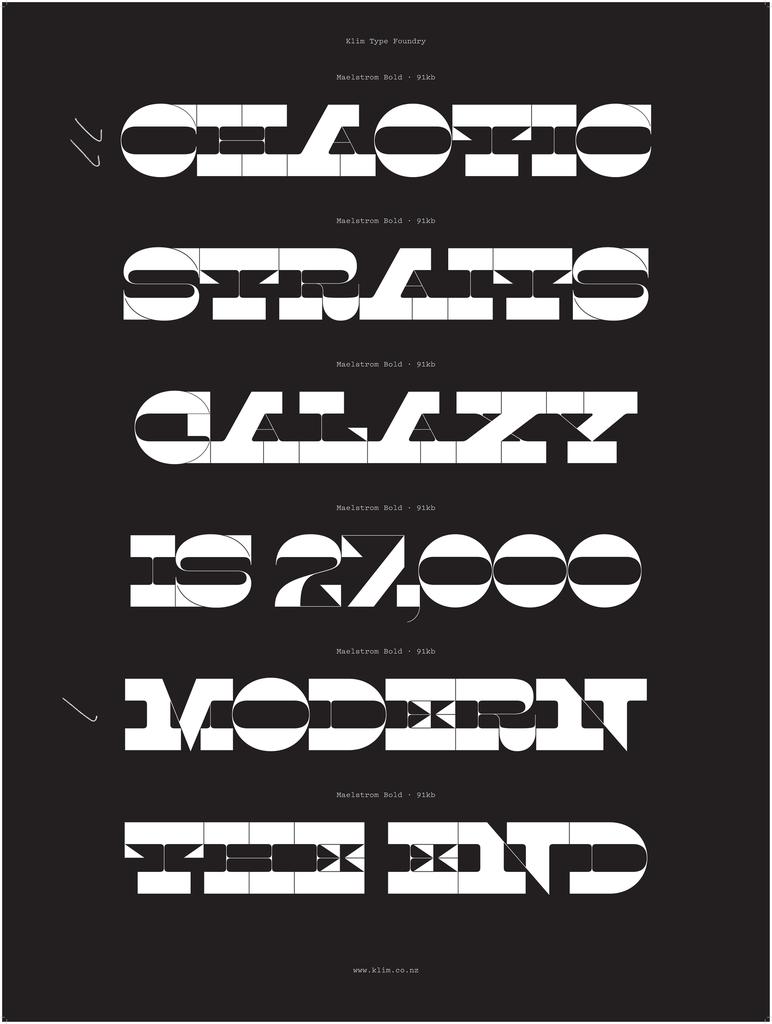 Specimen, Maelstrom typeface, 2014