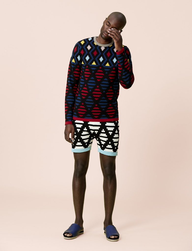 Thahla Crew-neck Sweater, Ndlela Ntle Shorts, Sandals, And Socks, from the Mtanom'gquba collection, Spring / Summer 2016, 2014