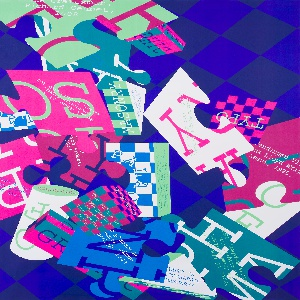 On blue checkered ground, multicolored poster design featuring an array of layered, overlapping geometric volumes in the form of cubes, cylinders, and puzzle-like shapes. Each plane rendered in a different bright, flat color or in a checkered pattern of two colors; most feature printed text in typewriter-style font.
