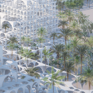 Rendering, Souk Mirage / Particles of Light commercial building complex, concept master plan, 2013