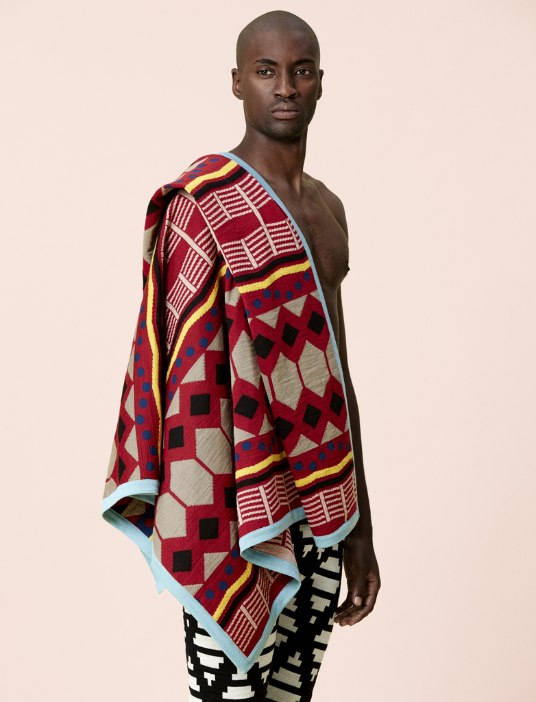 Nyawuza Shawl, Ndlela Ntle Shorts, Sandals, And Socks, from the Mtanom'gquba collection, Spring / Summer 2016, 2014