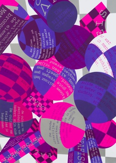 On gray and white checkered ground, multicolored poster design in blue, purple and pink tones featuring an array of layered, overlapping geometric volumes in the form of  triangular prisms, cylinders, spheres, and others. Each plane rendered in a different bright, flat color or in a checkered pattern of two colors; most feature printed text in typewriter-style font.