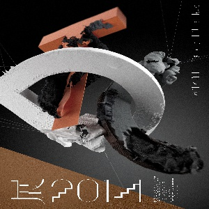 On dark gray ground, the letters T D C float in three dimensions, turned at different angles in space. Each letter a different color: a coral-orange T, white D, and black C. Each letter treated with an intricate, detailed surface resembling manipulated paper or clay. Brown triangle makes up the background in the lower left of the composition. Printed white text at right margin and at lower left.