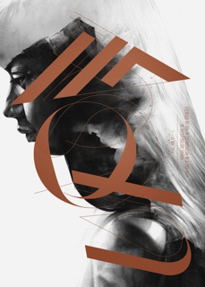 """On white ground, photoillustration of a figure of a woman with long straight hair rendered in black and white tones shown in profile, facing left, her eyes cast down. Superimposed on this image, vertical brown text spelling """"VON"""" in elaborate brown typography. Additional printed brown text at center right margin."""