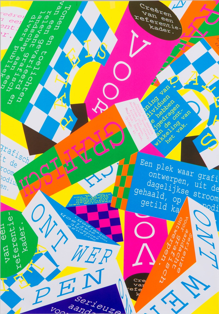 On yellow ground, multicolored poster design featuring an array of layered, overlapping geometric volumes in the form of rectangular prisms, triangular prisms, cylinders, cubes, and others. Each plane rendered in a different bright, flat color or in a checkered pattern of two colors; most feature printed text in typewriter-style font.