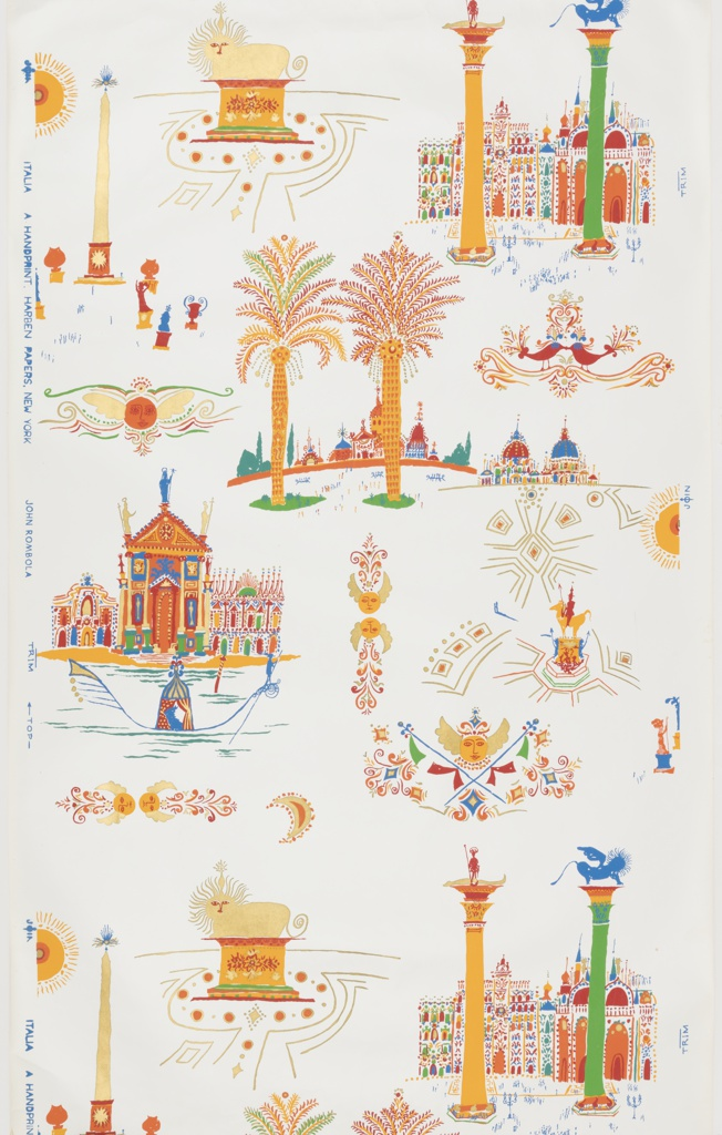 Pattern illustrates in whimsical fashion some of the top tourist destinations in Italy. Scenes from Venice include a gondola and Piazza San Marco, while the Piazza del Popolo in Rome is shown. Palm trees, winged masks and flourishes are intermixed. Printed in colors on a white ground.