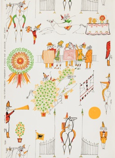 Design contains numerous scenes of horse show events including riding, jumping, a ringmaster with his trumpet, a judge holding a trophy, and a group of delightfully costumed spectators. Printed in colors on a white ground.
