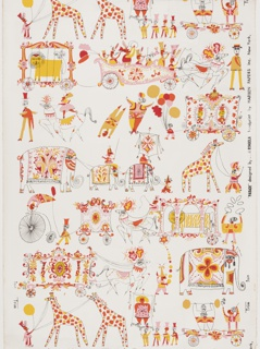 Various characters from the circus are lined up and form horizontal bands across the width of the paper. Figures include horses pulling a wagon of musicians, a caged lion, clowns, acrobats, man on stilts, elephants, giraffes, and a man performing stunts on a big wheel bicycle. Printed in colors on a white ground.