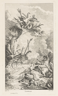 Scene of a shipwreck surrounded by rocks and waves; below, sea creatures on shore. Above, cliff overhanging with waterfall, conch shells, plants, paddle, spear, and personification of wind.