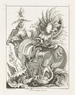 Rocaille ornament design with small cartouche, acanthus leaves, floral motif, and distorted bird figures. A Chinese figure watching the entire scene from the upper left corner of the cartouche.