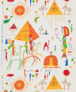 Design contains many icons of ancient Egyptian including Cleopatra, pyramids, the Sphinx, men riding camels, and heiroglyphs. Women wearing burqas are also illustrated. Printed in bright colors on a white ground.