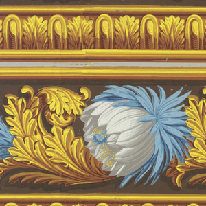 Large-scale blue and white flowers, alternating between mostly white and mostly blue. Between each of these flowers is a scrolling acanthus leaf.  A band of architectural molding runs beneath. Printed two across.  H# 306