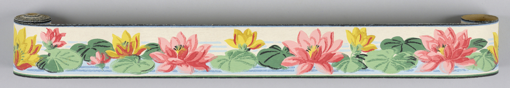 Water lillies with pink and yellow flowers on ground of white top with blue bottom.