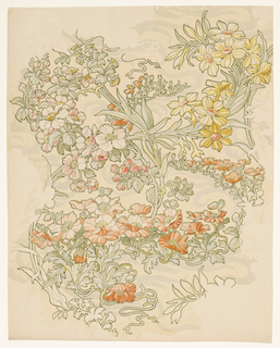 Textile design pattern with meandering, intertwined sprays of two-toned crimson anemones, pink apple blossoms and yellow and crimson narcissi with an independent sinuous light-green generic vine in background.