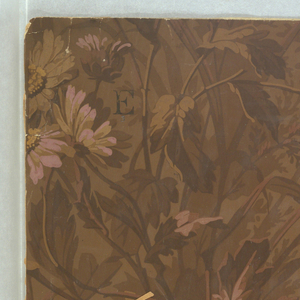 On brown ground, clumps of daisy-like flowers in pink, lavender, beige and brown.