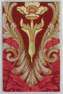Art nouveau design; single floral motif within acanthus medallion printed on background of dense flowers and foliage. Printed in green, yellow, red, metallic silver and metallic gold on red ground.
