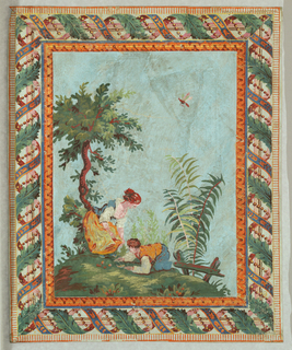 Vertical rectangle. Girl and boy on grassy slope, with tree, bush and fence. Large dragon fly in sky. Border brilliant in color, with simulation of carved moldings: leaf molding and large baguette entwined with foliage, beading and foliated ribbon. Printed in colors on blue ground, gray field to border.