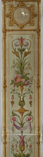 Vertical strip framed in three separate sections. Border a rod-like shoot of vegetation, surrounded by cream ground. Field within border blue, with scrolls and garlands; medallions in two upper section, birds in bottom section.