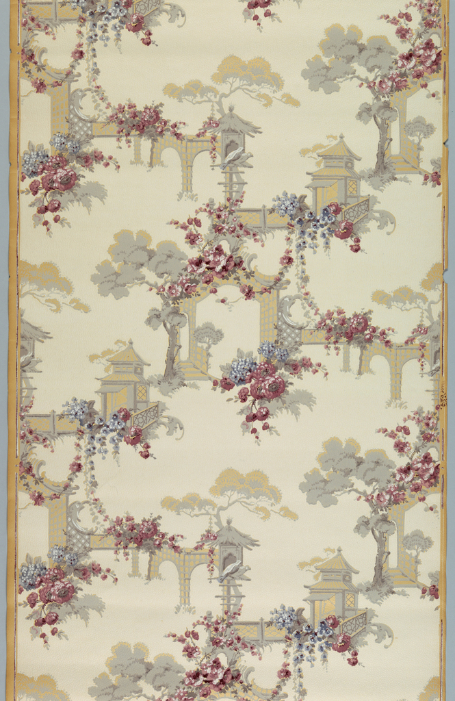 Chinoiserie design in grey, wine, and lavender.