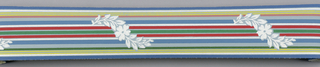 Thin multi-colored banding with interrupted meandering white floral motif on blue ground. Matching ready-pasted border.
