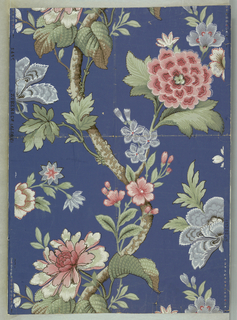 Design of serpentine trunk with stems and flowers and leaves; printed in blue, pink, green, gray, brown, black and white on blue ground.