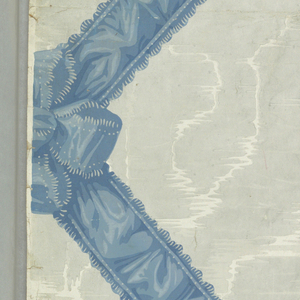 Gray and white imitation of moired silk criss-crossed by ruffled blue ribbon with bows at crossings.