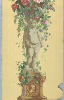 Statue of an infant, standing on vine-covered pedestal with burgundy cameo in base. Putti is facing right, supporting a basket of vining flowers. Printed on woodgrain background.