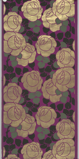 Large-scale, stylized cabbage roses, printed in metallic gold with green and black leaves on purple background. Art deco-style.