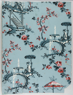 Chinoiserie design of seated coolie or Asian figure under tree before fountain. Printed in blues, black, white, pink, and red.