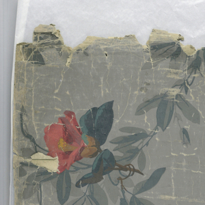 """a) On gray ground, clusters of pink and red flowers joined by trailing foliage - vines entwined with blue ribbon; b) On white ground, grisaille scrollwork enframing vignettes of hunting: dogs attacking deer, hunters; c) Same as """"a""""."""