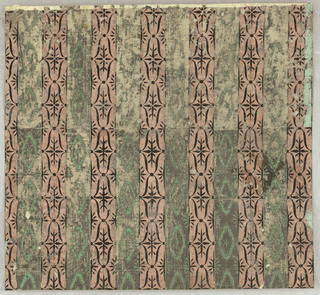 Horizontal rectangle composed of two pieces of paper. Alternating stripes of coral with overprinted black design, and gray, with overprinted green design imitating the effect of a moire silk. Printed in gray, coral, black and green.