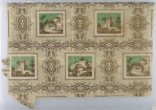 a) is a small fragment; b) gives one and one-half widths of drop-repeating design; three different enframed architectural scenes of Italianate character, with green sky, against plain ground divided into larger rectangles by bands of scrolled framework. Printed in browns, white and green on neutral light brown ground.